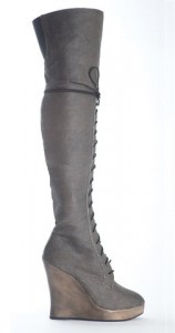 Vegan over knee wedge boots