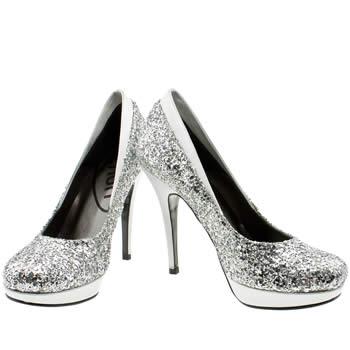 Silver glitter vegan heels
