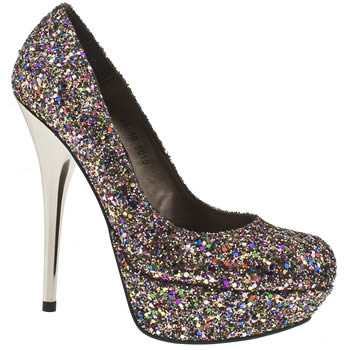 Vegan multicoloured sparkle party heels