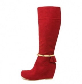 Red vegan boots