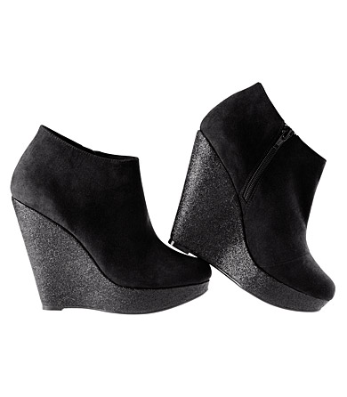 Big glitter wedge vegan boots