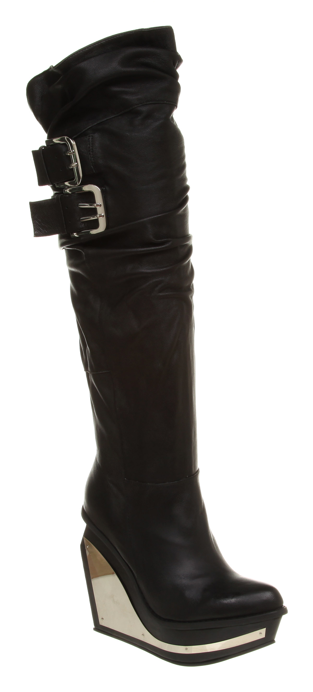 Crazy wedge designer vegan knee high boots