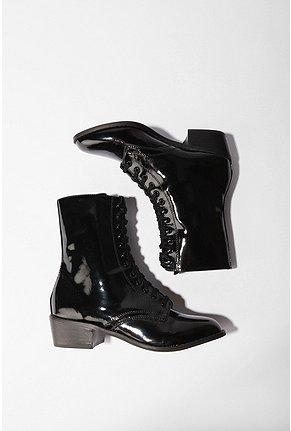 Vegan patent lace up boots