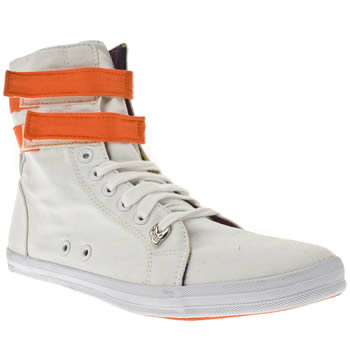 Vegan men's white and orange trainers
