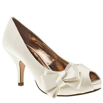 White vegan side bow heels (bridal?)
