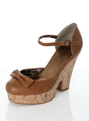 Vegan retro tan wedge heels with bows
