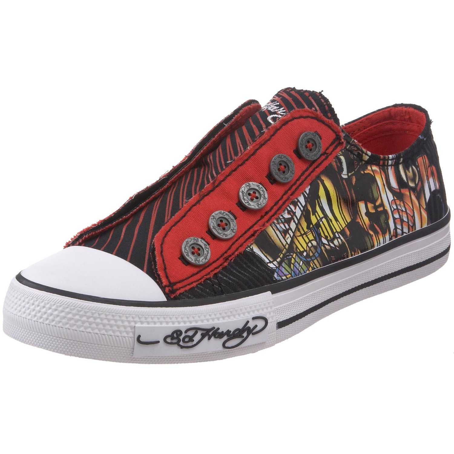 Funky vegan tattoo print low rise trainers