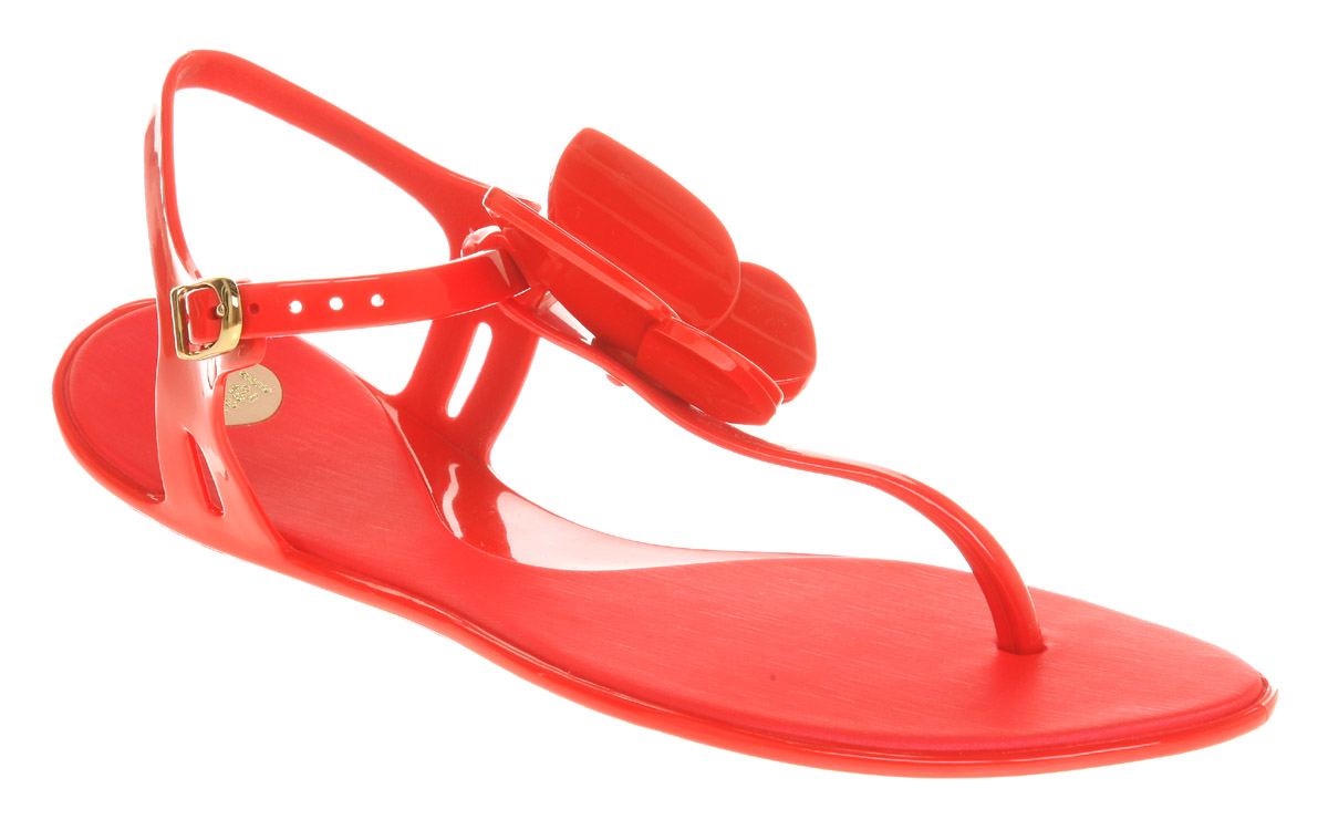 Red vegan butterfly sandals