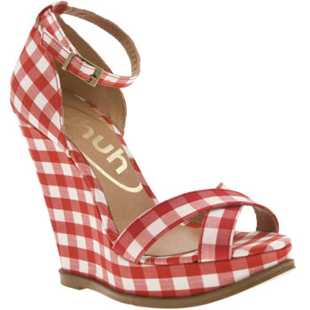 Vegan gingham wedge sandals