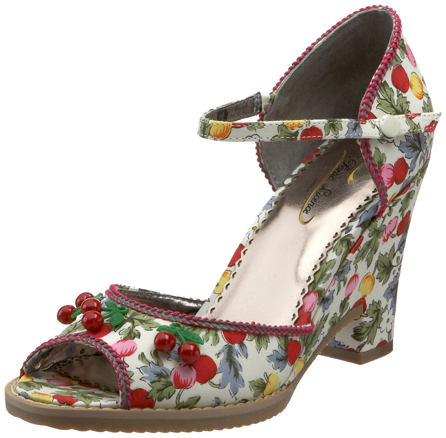 Sweet vegan peep toe wedge heels with cherries and flowers