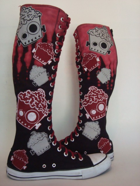 Vegan zombie knee high boots