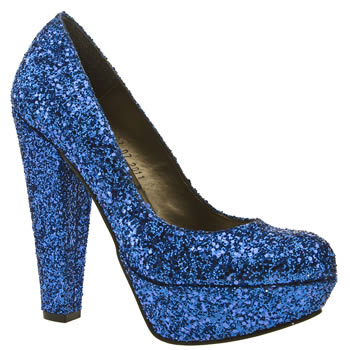 Gorgeous blue vegan glitter heels