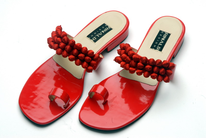 Flashy red vegan sandals