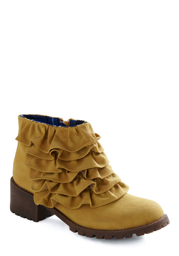 Cute vegan ruffle ankle boots
