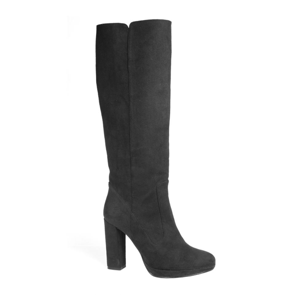 "Vegan ""suede"" knee high high heeled boots"