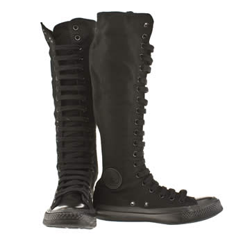 Vegan converse all black (monochrome) knee high boots