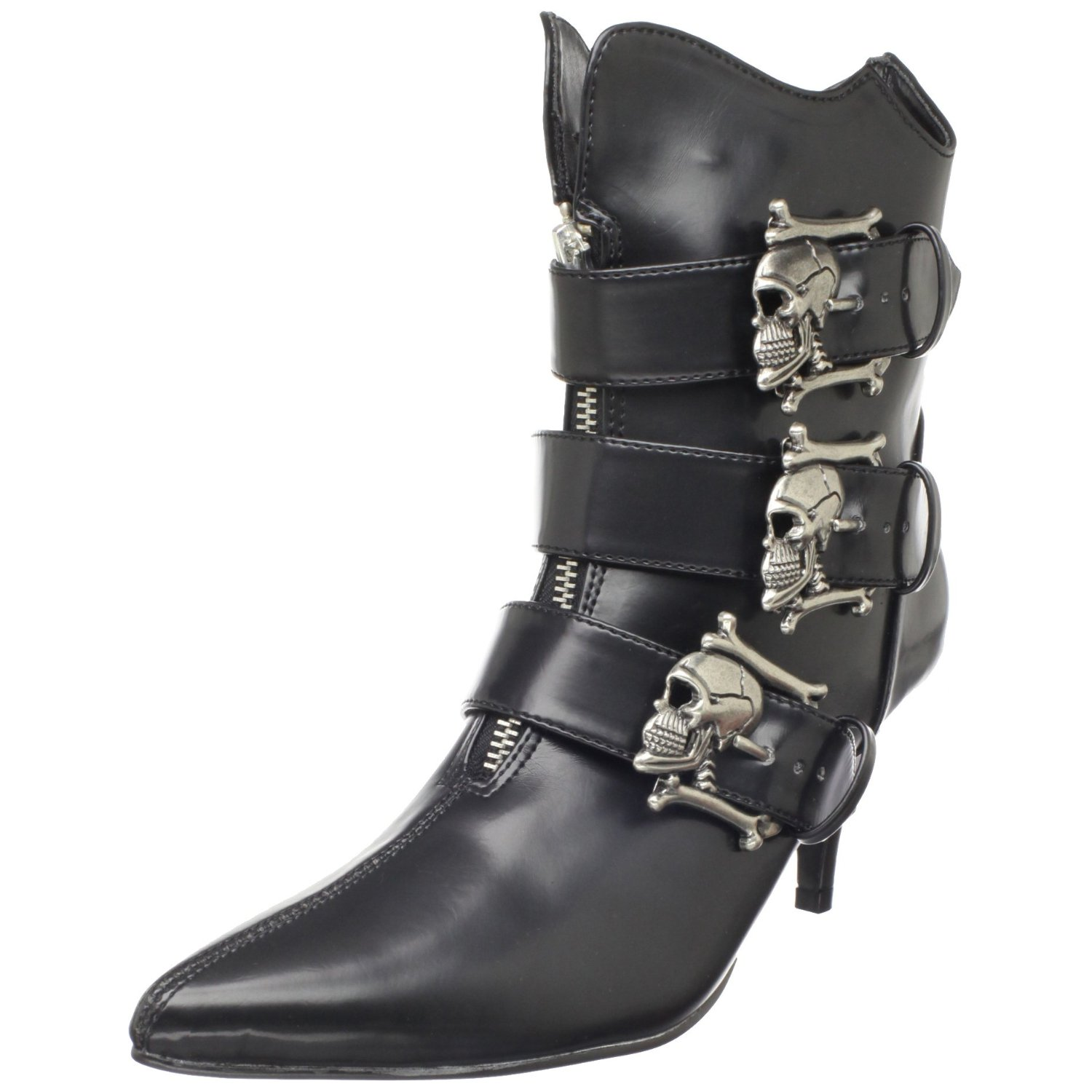 Vegan goth boots with skull buckles