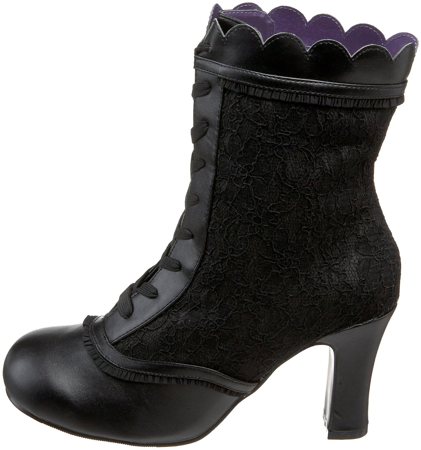 Vegan black lace steampunk ankle boots