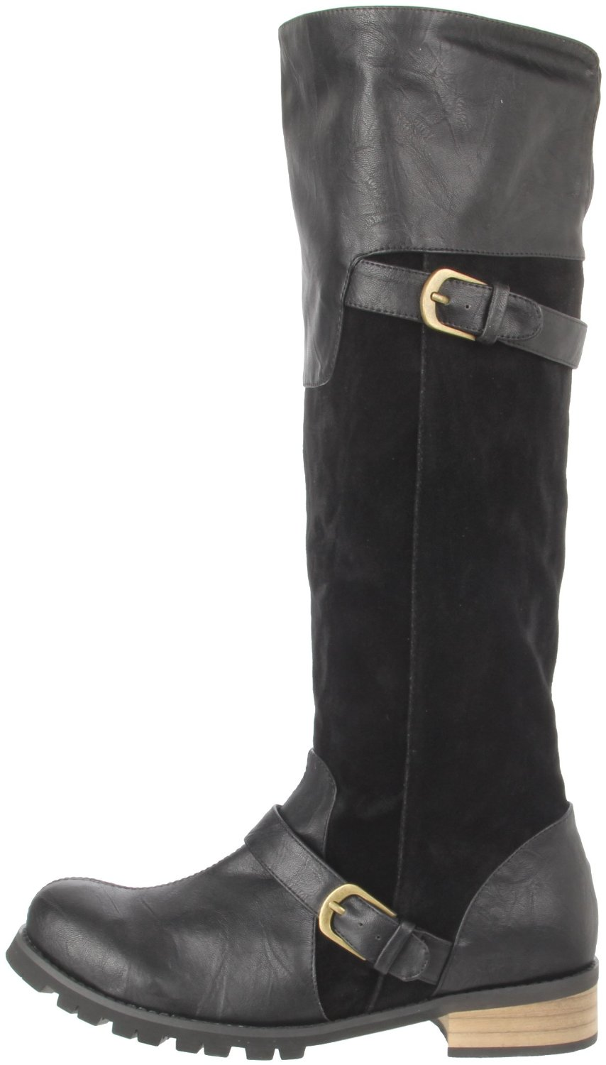 Two-toned vegan knee high boots