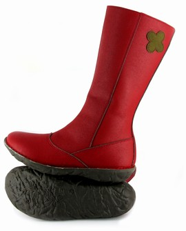 Red vegan boots with flower