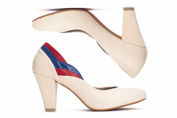 Lovely retro-inspired vegan cream red and blue heels