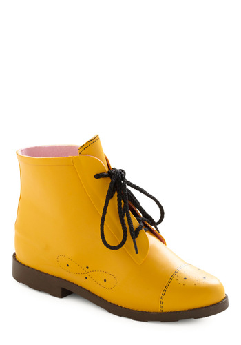 Wacky yellow vegan rain boots