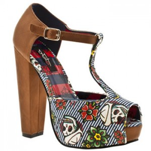 Vegan t bar platform heels with sailor skull pattern