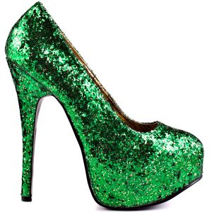Green vegan heels