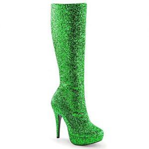 Vegan green glitter boots