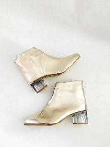Vegan gold boots lucite heel