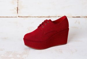 Vegan red platform wedges
