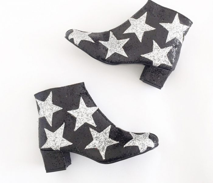 Ultra Glam Black Vegan Boots with Stars