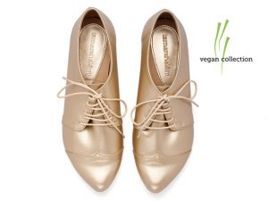 Tamar Shalem Gold Oxfords
