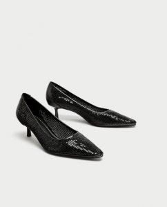 Zara vegan black court shoes