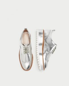 Zara vegan silver oxford shoes