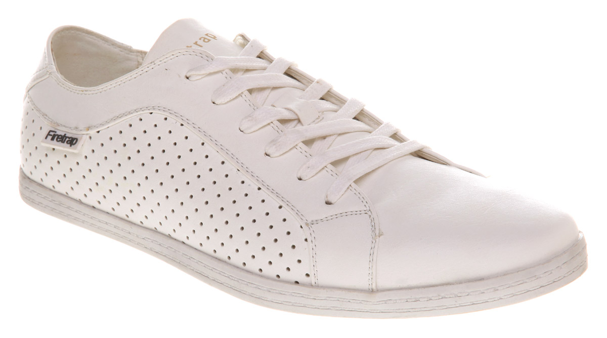 White perforated unisex vegan trainers