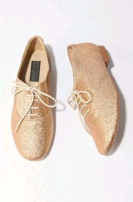 Gold vegan lace up flat shoes