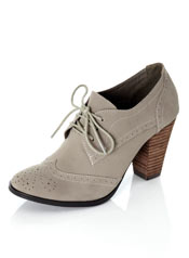 Grey vegan high heel oxfords