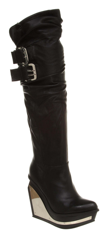 Crazy wedge designer vegan knee high boots