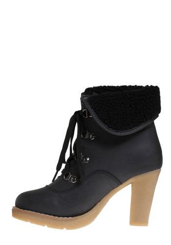 Vegan high-heeled hiking boots