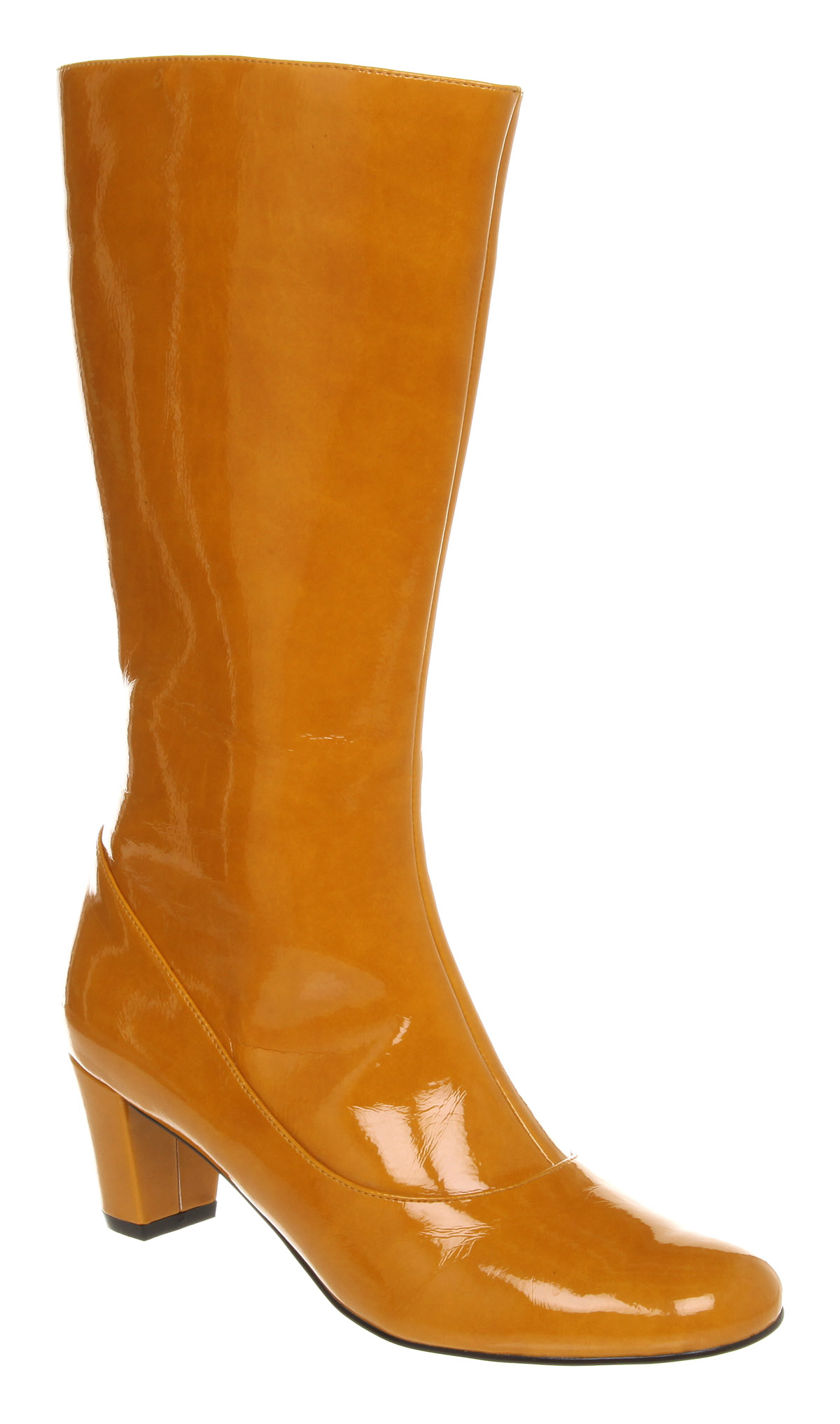 High heeled vegan patent rain boots