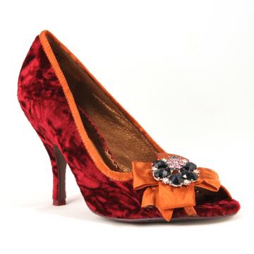 Crushed velvet red vegan party heels