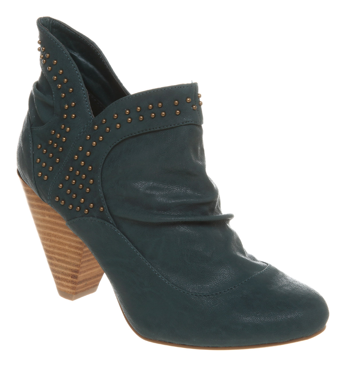 Vegan studded teal ankle boots
