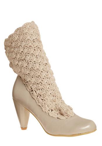 Vegan white lace heels