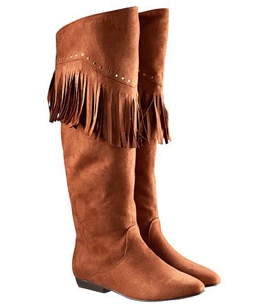 Vegan fringed knee high boots