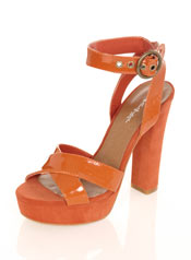 Vegan retro 70s orange platform heels
