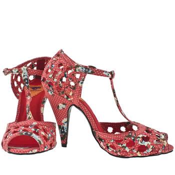 Vegan floral woven t-bar heels