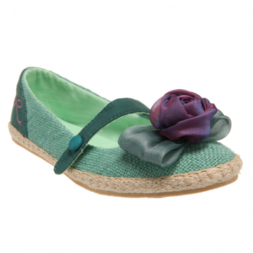 Cute vegan hessian mary jane flats with flower and bow