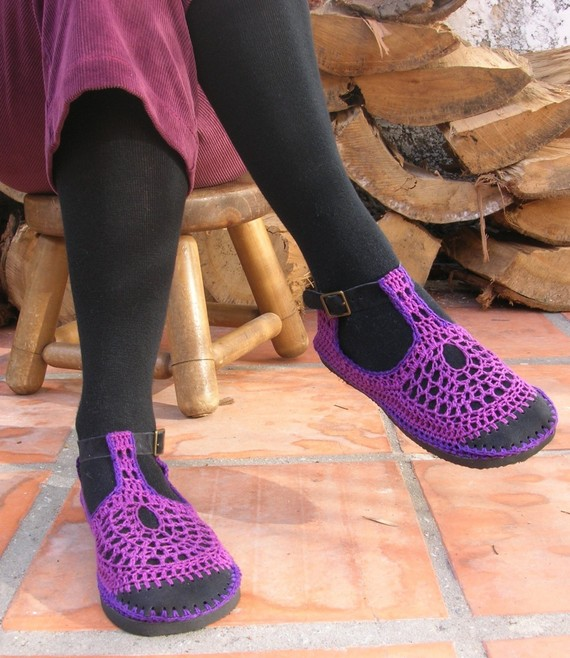 Vegan handmade crochet shoes