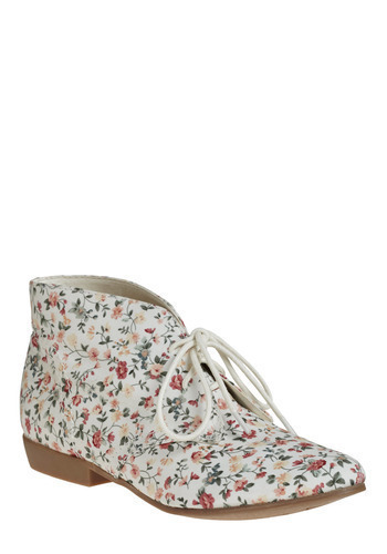 Cute vegan white floral ankle boots